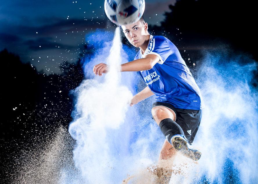 Fußball-Mehl-Shooting